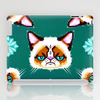 Grumpy Cat Geometric Pattern iPad Case by chobopop