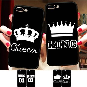 Cool Minason BFF King Queen Couple Cover For iPhone X 8 5 XR XS Max 6 6S 7 Plus Case Best Friends Soft Silicone Phone Fundas CapinhaAT_93_12