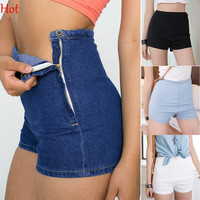 High Waist Jeans Shorts Female Slim   White Black Blue Shorts Jeans