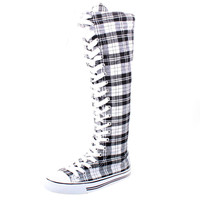 Plaid Lace-Up Knee High Sneaker Boots