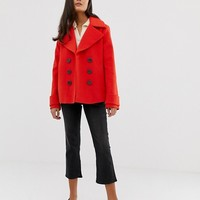 Miss Selfridge double breasted coat in red | ASOS