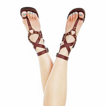 $188.00 Custom Leather sandals Ankle wrapping High End by Shovavaleather