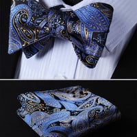 NAVY BLUE, GOLD FLORAL 100%SILK MEN BUTTERFLY SELF TIE BOW TIE POCKET SQUARE SET