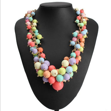 Women Candy Bead Statement Necklace Multi-color