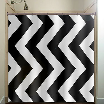 Giant Big Large Vertical Chevron Shower Curtain Bathroom Decor Fabric Kids Bath White Black Custom Duvet