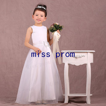 Princess floor-length organza with sash bow flower girl dress