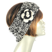 Marble Knit Winter Headband ,Hat, Cap with Flower Trim
