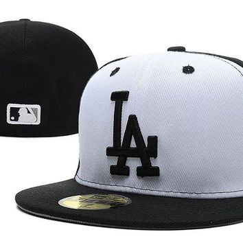 hcxx Los Angeles Dodgers New Era MLB Authentic Collection 59FIFTY Cap White-Black LA