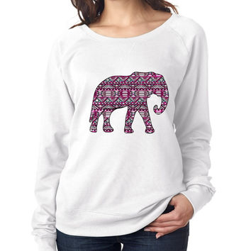 Aztec Elephant Pink Print Womens long sleeve Pullover