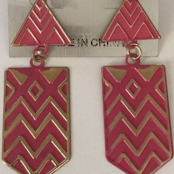 "Pink Tribal 3"" Earrings"