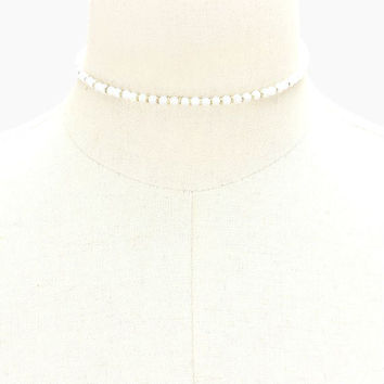 White Moonstone Jasper Tiny Semi-Precious Stone Bead Strand Choker Necklace