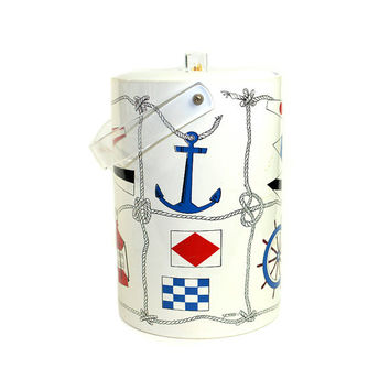 Nautical Ice Bucket by Stotter - Sailing Boat Theme Anchor, Compass, Lantern & Flags, Lucite Handles - Red, White, Blue - Vintage Decor