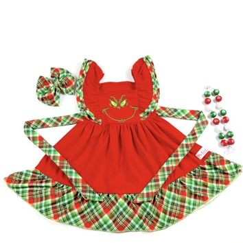 RTS Madeline Kate Red Plaid Grinchy Dress D24