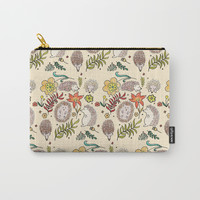 Hedgehog Field in Cream Carry-All Pouch by doucettedesigns