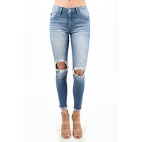 Kan Can Frayed Bottom Distressed Jeans