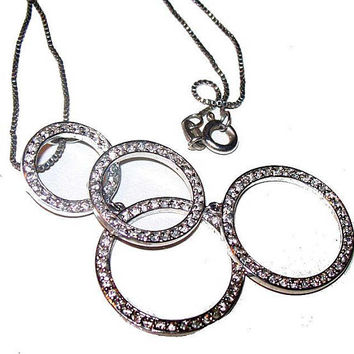 """Rhinestone Dangle Circle Pendant Necklace Signed 925 Sterling Silver Italy 16"""" Vintage"""