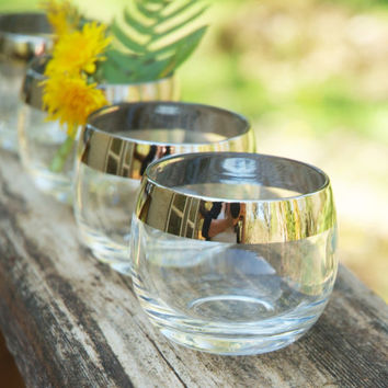 Vintage Roly Poly Barware, Set of 4 Clear Glasses with Silver Rim, Collectible Mad Men Style, Low Ball Cocktail Glasses