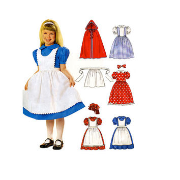 Girls' Storybook Character Costume Pattern Hooded Cape Apron Dress Dress-Up Costumes Size 3 4 5 6 7 8  McCalls 4567 UNCuT Sewing Patterns