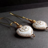 White and Gold Heart Earrings:  Pressed Floral Glass Dangle Earrings, Vintage Rose Drop Earrings, Winter Wedding Jewelry