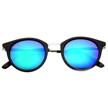 Retro European Round Horned Rim Mirror Lens Sunglasses 9650