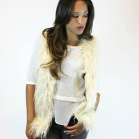 Cream Fur Vest | Ark & Co.