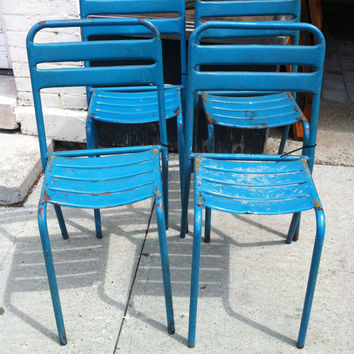 Vintage French Bistro Chairs Set of 4