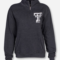 Triblend Texas Tech Double T Women's Charcoal Quarter Zip Pullover