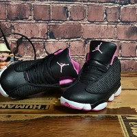 Kids Air Jordan 13 Retro Black/Pink Sneaker Shoe Size US 11C-3Y