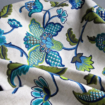Vintage Waverly Linen Upholstery Fabric - ONE Yard - Crewel Pattern Turquoise Blue Green Natural 1970s Amesbury Yardage