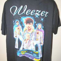1995 Weezer Rare Vintage 90's Elvis Style Brush Your Teeth and Do Your Homework World Domination Tour Alternative Rock Band Concert T-Shirt