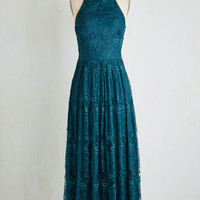 Long Sleeveless Maxi With Style and Lace Dress in Teal