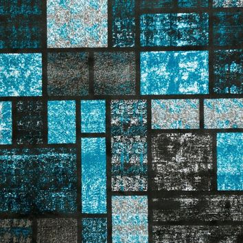 1067 Turquoise Square Contemporary Area Rugs