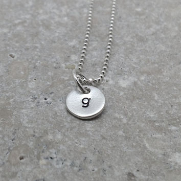 Tiny Initial Necklace, Letter g Pendant, Personalized Necklace, Hand Stamped Small Initial Pendant, Sterling Silver Jewelry