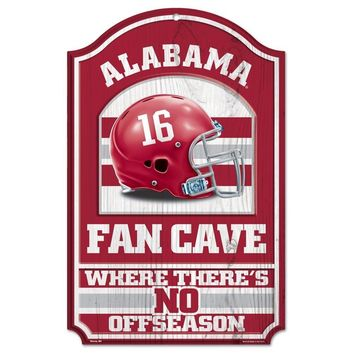 ALABAMA CRIMSON TIDE FAN CAVE THERE'S NO OFFSEASON WOOD SIGN 11X17 WINCRAFT