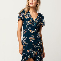 IVY & MAIN Floral Ruffle Wrap Dress