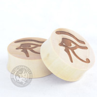 Eye of Horus Engraved Wood Plugs