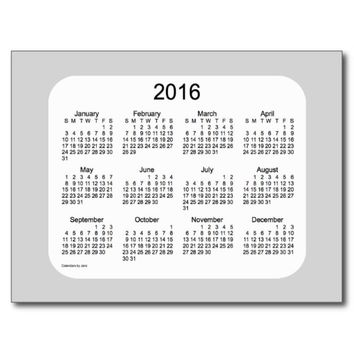2016 Grey Mini Calendar by Janz Postcard