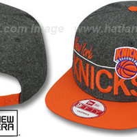 Knicks 'FLANNEL SNAPBACK' Grey-Orange Hat by New Era