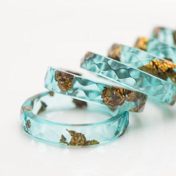 Mint Resin Ring Gold Flakes Small Faceted Stacking Ring OOAK pastel mint aqua brown minimalist jewelry rusteam