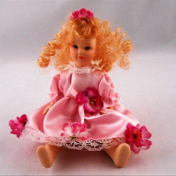 Porcelain Mini Doll Curly Blonde Hair Pink Dress Carnation Flower Jointed 6""