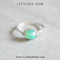 Green Opal Ring - unique rings - wire wrapped jewelry handmade - custom ring