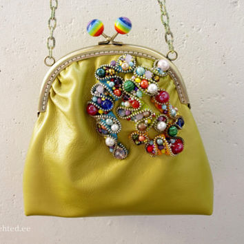 Leather crossbody purse with colorful pearls and zipper decoration. Small summer leather bag. Colorful crossbody clutch.