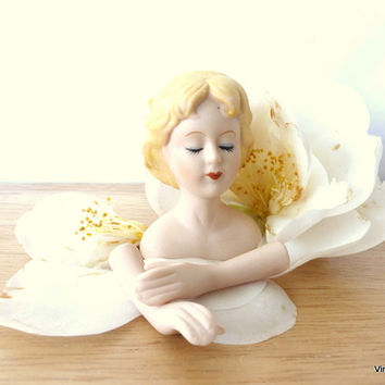 Vintage Porcelain Doll Parts Womans Bust and Hands Mangelsen's Dolls and Supplies Blonde Ceramic Doll Head Altered Art Supply