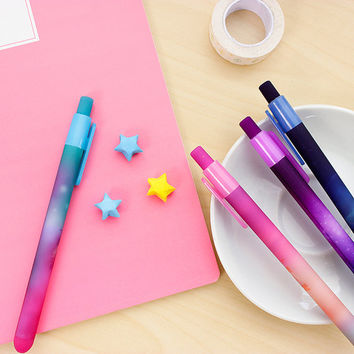 Kawaii Galaxy Pens - Collection of 6 black ink gel pens