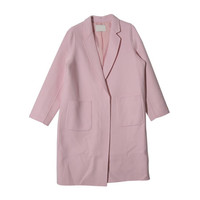 Knee-Length Patch Pocket Accent Coat (Pink) | STYLENANDA