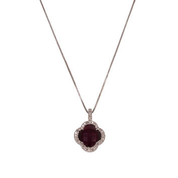 Garnet Clover Pendant Necklace with Diamonds