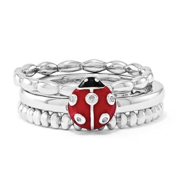 Sterling Silver, Enamel & .015ctw Diamond Ladybug Stackable Ring Set