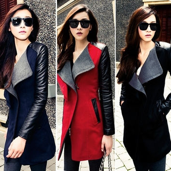 New Warm Women Lady Long PU Leather Sleeve Parka Trench Windbreaker Jacket Coat 18970