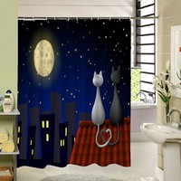 High Quality Cute Cat Shower Curtain Custom Cartoon Pattern 3d Print Bathroom Curtain For Kids Waterproof Polyester Fabric Liner