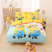 Cartoon 3d Minions Bedding Set Despicable Me 2 Hello Kitty Bed Linen for Kids 4pcs Bedding Duvet Cover Set with Sheet Pillowcase